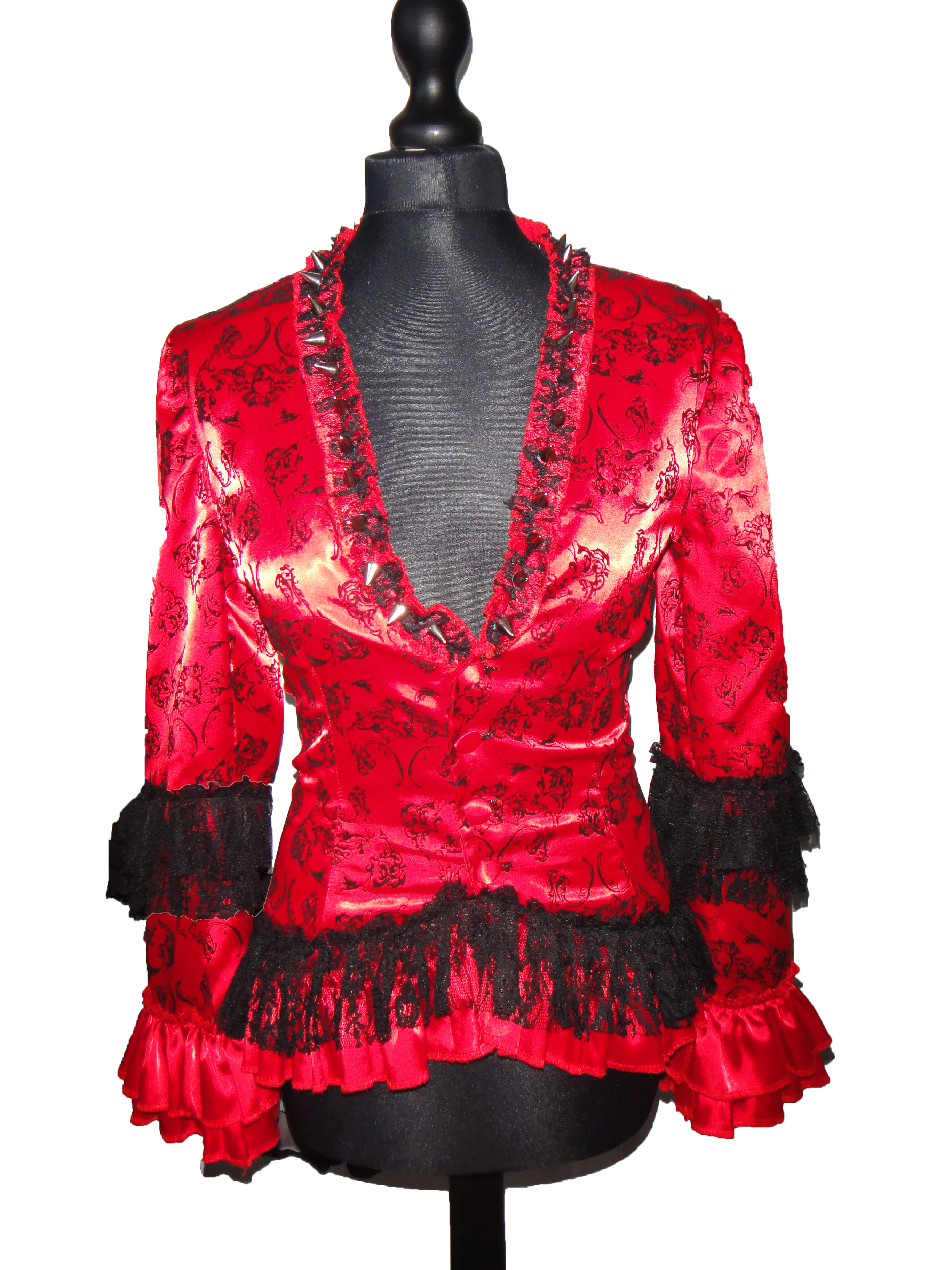 Red gothic spike bustle jacket