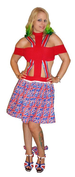 Union Jack flag cutout skater dress