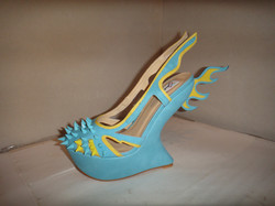blue yellow spike flame wedges