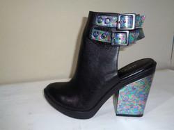 Iridescent oilslick cutout boots