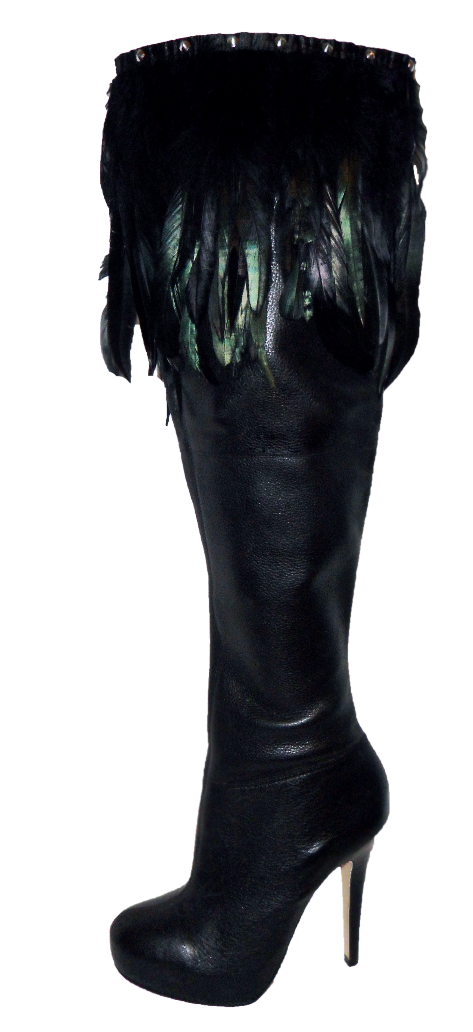 Topshop leather thigh feather boots