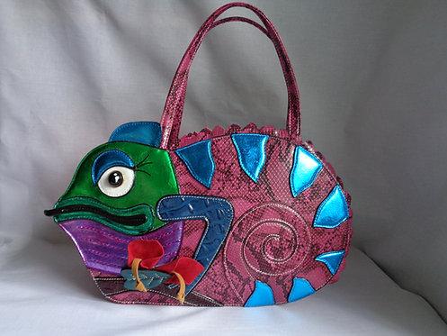 Pink, green, blue, purple, metallic Chameleon lizard handbag