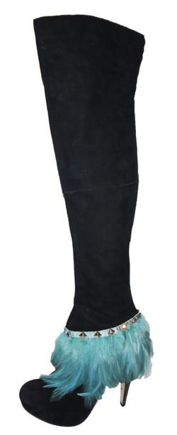 Topshop aqua feather thigh boots