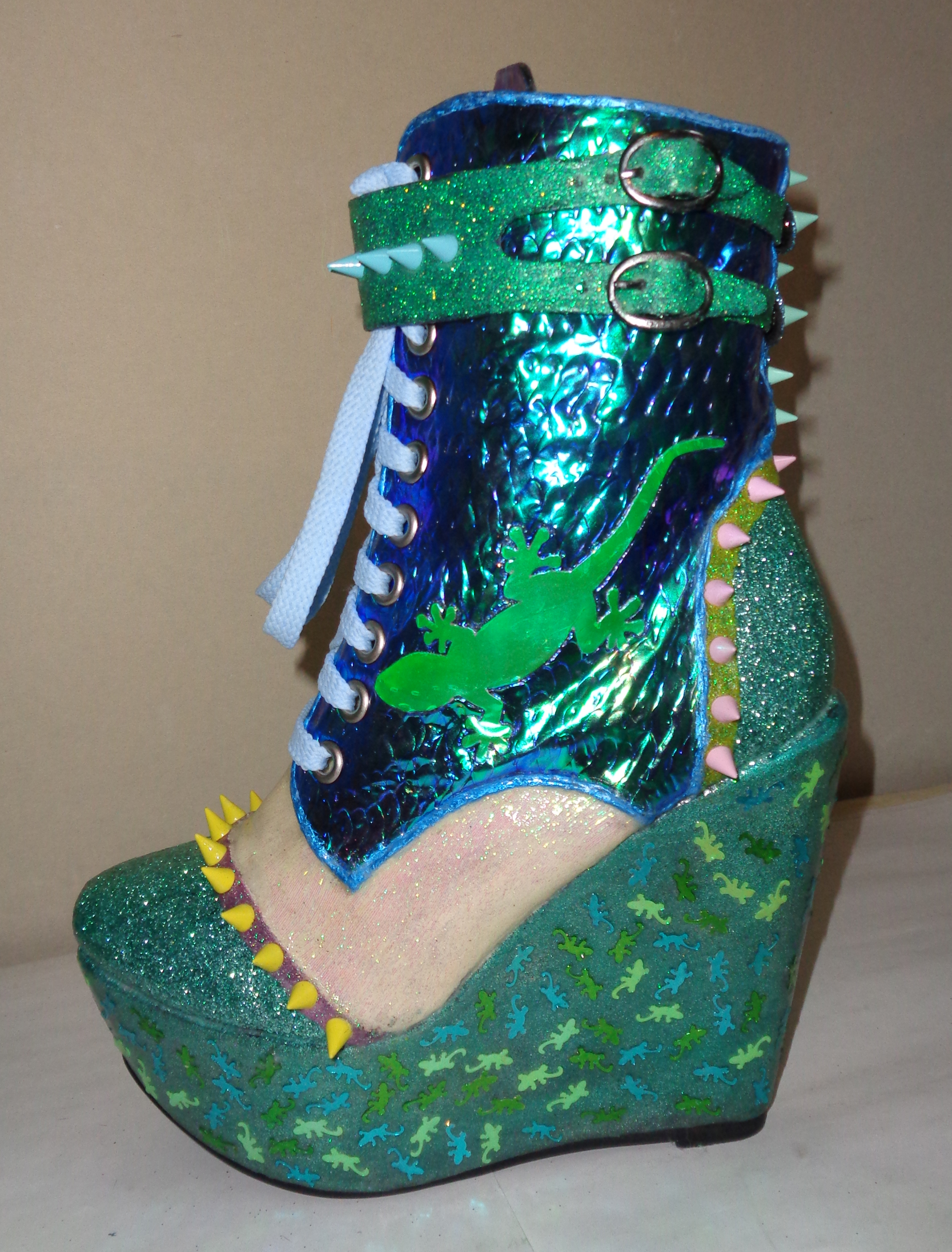 Green blue iridescent lizard boots