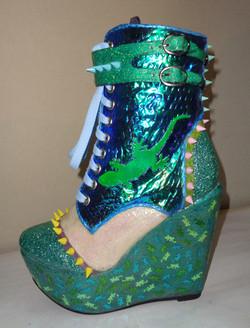 Green blue iridescent lizard boots
