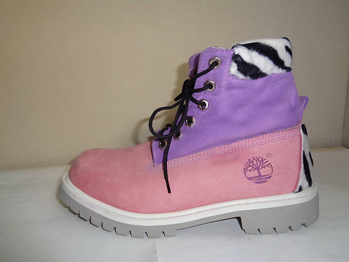Pink, purple and zebra print fur Timberland boots