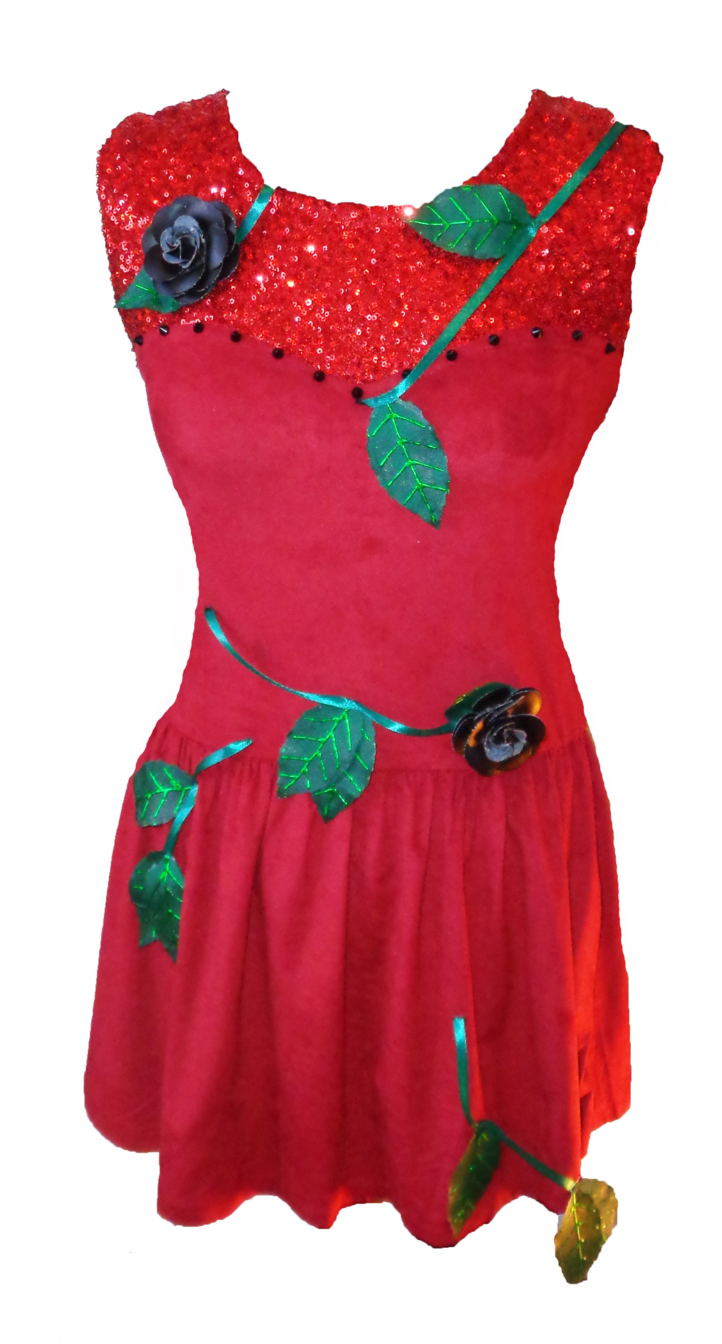 red sequin rose vine skater dress
