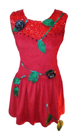 red sequin rose vine skater dress