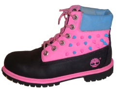 Pink black Timberland Spike boots
