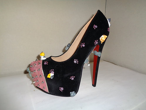 Black pink kawaii cute kitty cat stiletto shoes