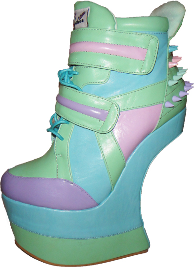 heelless pastel stud platform wedges