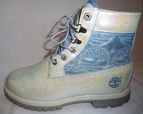 Iridescent rainbow pearl oilslick Timberland boots
