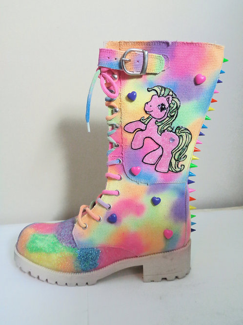 My Little Pony neon rainbow glitter biker boots