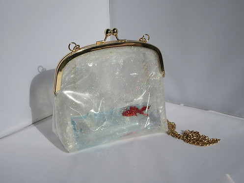 Fish in water filled transparent glitter bag handbag