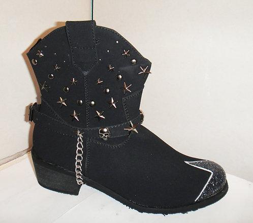 Black skull star stud glitter cowboy boots