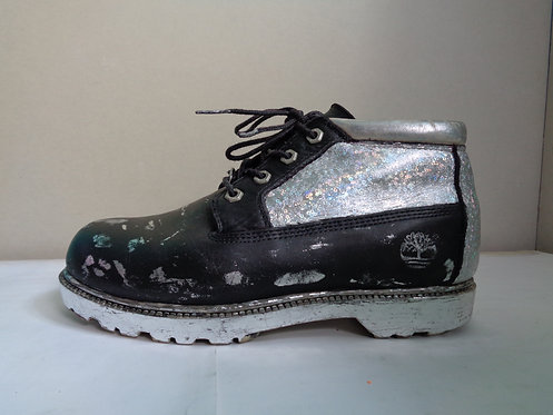 Black and silver holographic Timberland boots