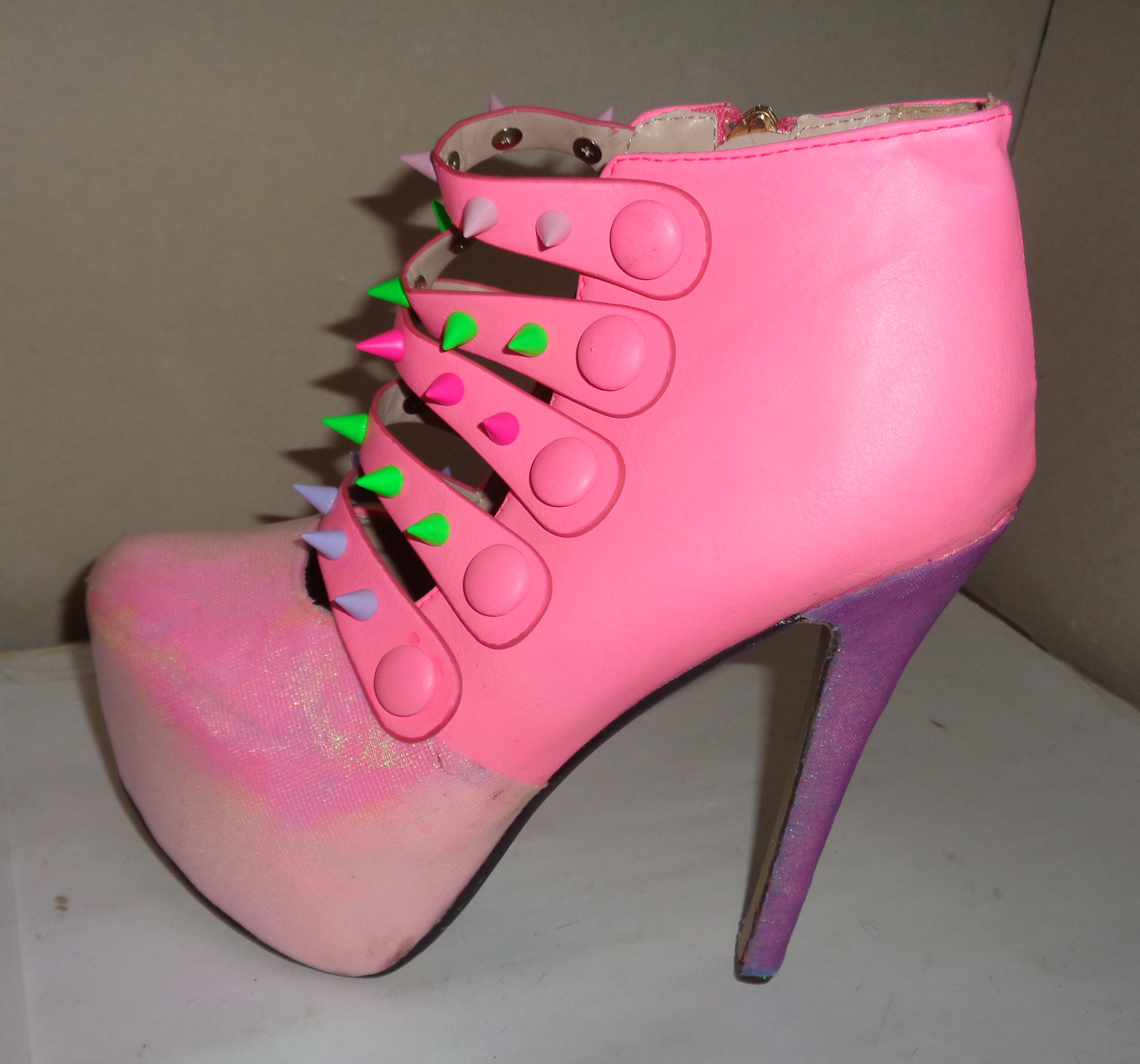 Pink iridescent spike platform shoes