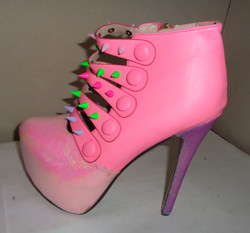 Pink iridescent spike platform shoes