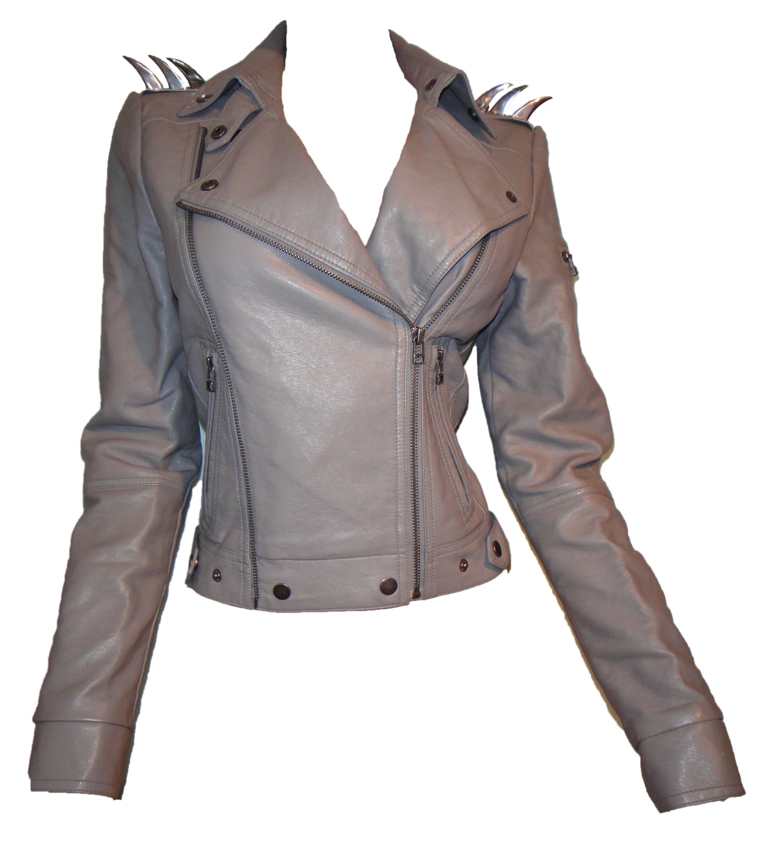 Grey leather spike biker jacket
