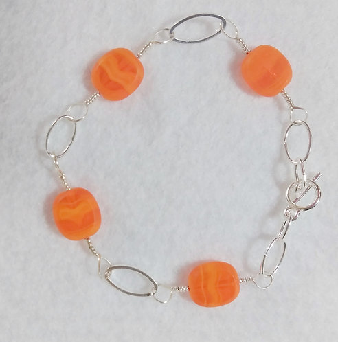 Bracelet | Orange | Jewelry | Wire Wrapped Jewelry