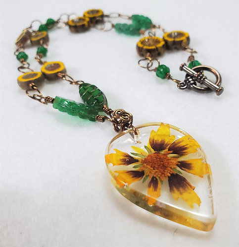 Real Flower | Czech Glass Wire Wrapped Necklace