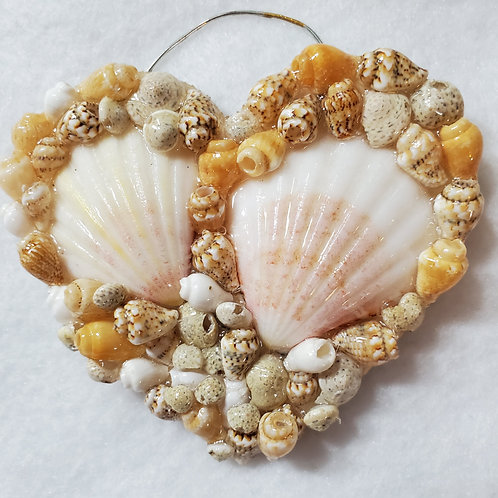 Heart Ornament / Wall Hanger Covered with Shells
