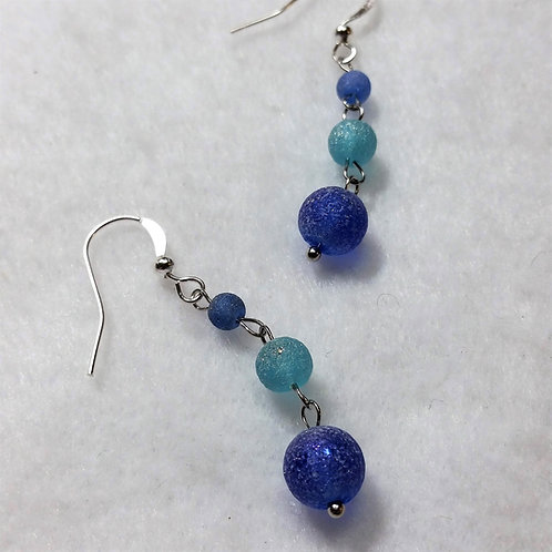 Earrings | Blue Sea Glass | 3 Ball Drop Earrings