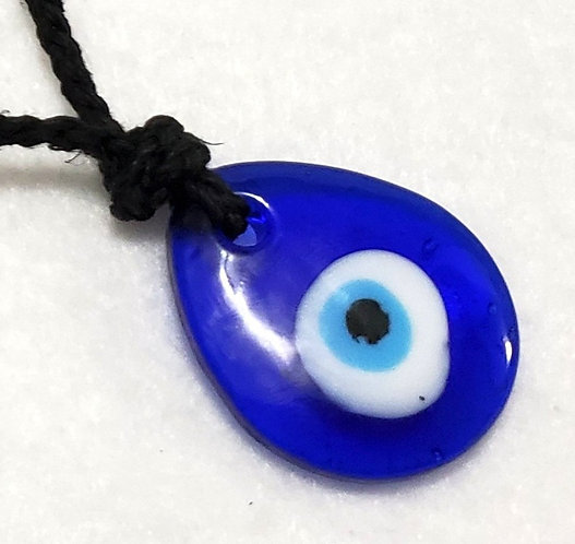 Evil Eye Necklace | Black Hemp Adjustable