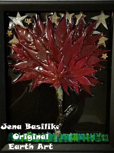 Earth Art | Japanese Maple | 8 x10 inch shadow box | 3D Glassless Natural Art