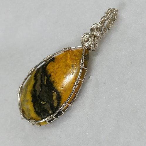 Bumblebee Jasper Wire Wrapped Pendant | Teardrop | Clear Focus