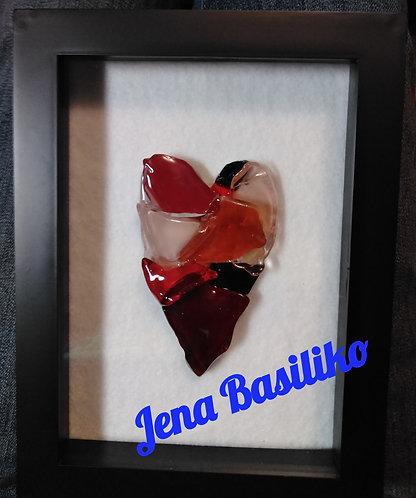 Glass Art | Heart | 6 x 8 black shadow box | Valentine's Day