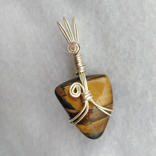 Tiger Eye Wire Wrapped Pendant, front view