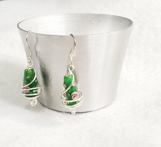 Green Teardrop Lampwork Earrings