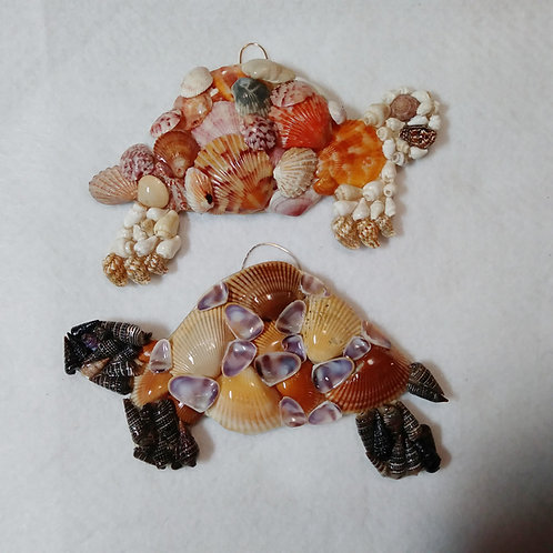 Turtle Ornament Covered in Seashells