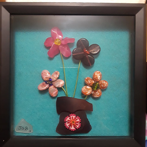 BRIGHT Bead Flowers with Purple sea glass vase | 9x9in shadow box