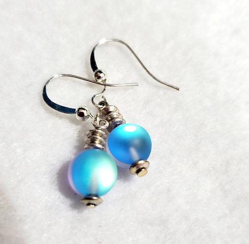 Blue Mystic Aura Bead Earrings