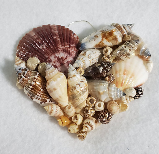 Heart Ornament / Wall Hanger Covered with Seashells