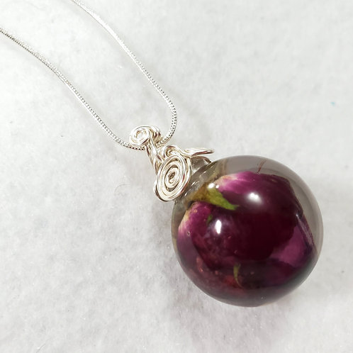 Rose Sphere Necklace Made with Real Roses