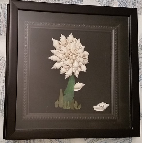 Framed Shell Art | shell flower | 10 x 10 shadow box | Snowflake Flower