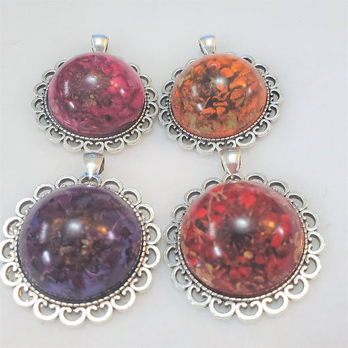 Flower Pendant   Made with REAL flowers   Free Chain
