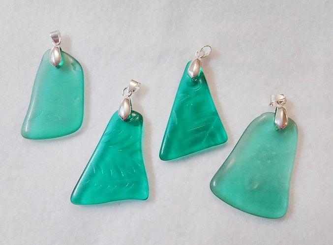 Teal Sea-Glass Pendants (4)