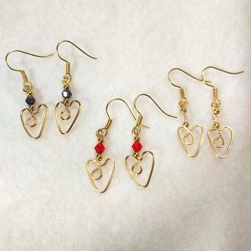 CUSTOM ORDER Red/Purple/Clear Gold Wire Wrapped Heart Earrings