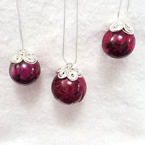 Rose Spheres Necklace Made with Real Roses