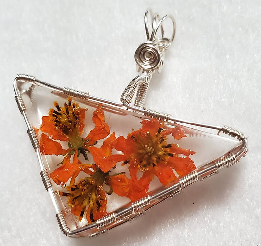 REAL Flowers | Triangle Wire Wrapped Pendant | Orange