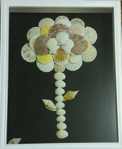 Shell Art | Shell Flower Tiger Tree | Ocean Art | 12 x 15 inch shadow box