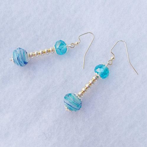 Blue Crystal Earrings top view