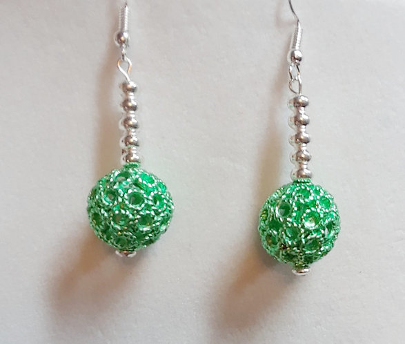 Green Metal Ball Earrings   Jewelry