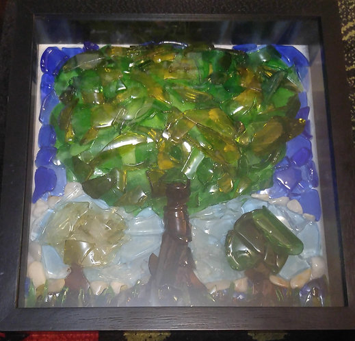 Glass Art | 3 trees by the pond | 12x12 inch shadow box