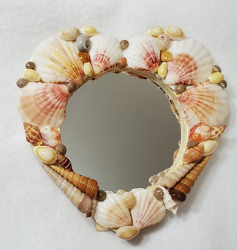 Seashell Heart Shape Mirror | Beach Home Décor