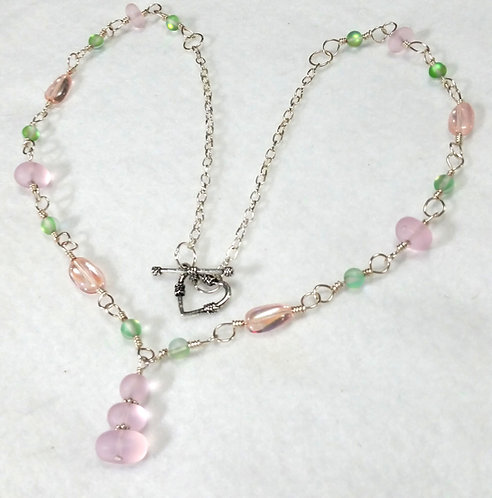 Sea-Glass Wire Wrapped Necklace | Pink and Green